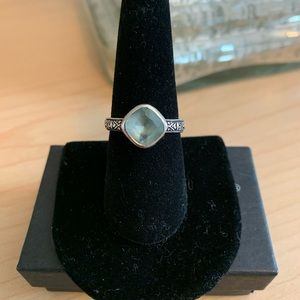 Silpada blue glass & sterling silver ring - size 8